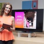 Kerstin Linnartz - iBook All about Yoga, Kerstin Linnartz stellt ihr reich bebildertes iBook All about von GU Verlag im Apple Store in Berlin am 03.04.2014 vor. Foto : EF54 / D.Zmeck